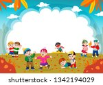 happy children playing with... | Shutterstock .eps vector #1342194029