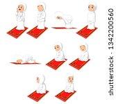 muslim girl sholat pray movement | Shutterstock .eps vector #1342200560