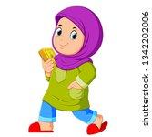 moslem girl walking and...   Shutterstock .eps vector #1342202006
