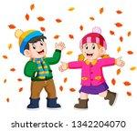 couple enjoying golden autumn... | Shutterstock .eps vector #1342204070