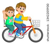 happy couple riding a bicycle | Shutterstock .eps vector #1342205930