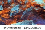 Abstract Blue And Orange Marble ...