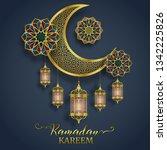ramadan greeting card on gray... | Shutterstock .eps vector #1342225826