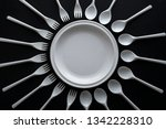 disposable tableware spoons and ... | Shutterstock . vector #1342228310