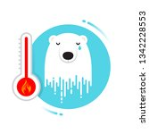 crying bear is symbol of global ... | Shutterstock .eps vector #1342228553