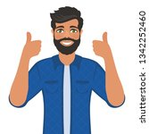 happy smiling man shows thumbs... | Shutterstock .eps vector #1342252460