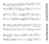 sheet music background with... | Shutterstock .eps vector #1342252493