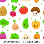 cute happy smiling vegetable... | Shutterstock .eps vector #1342252853