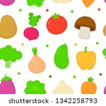 cute vegetable collection set... | Shutterstock .eps vector #1342258793