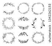 vector black outline wreaths.... | Shutterstock .eps vector #1342262153
