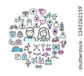 wedding vector icons in round... | Shutterstock .eps vector #1342262159