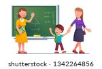 mother picking up boy kid from... | Shutterstock .eps vector #1342264856