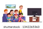 excited boys   girls kids group ... | Shutterstock .eps vector #1342265363