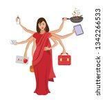 indian multitasking woman... | Shutterstock .eps vector #1342266533