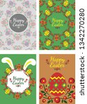 happy easter poster with egg ... | Shutterstock .eps vector #1342270280