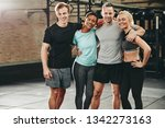 smiling group of fit friends in ... | Shutterstock . vector #1342273163