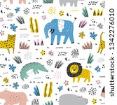 childish seamless pattern with... | Shutterstock .eps vector #1342276010