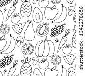 fruit hand drawn vector pattern | Shutterstock .eps vector #1342278656