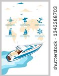 top view speed boat on water... | Shutterstock .eps vector #1342288703