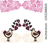 birds and hearts. vector... | Shutterstock .eps vector #1342288820