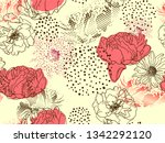 floral background. seamless... | Shutterstock .eps vector #1342292120