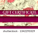 voucher template with pink gold ... | Shutterstock .eps vector #1342293329