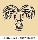 emblem  badge with a ram head... | Shutterstock .eps vector #1342307429