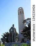 a christopher columbus statue... | Shutterstock . vector #134233406