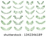 collection of watercolor... | Shutterstock .eps vector #1342346189