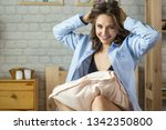 beautiful young blond woman in... | Shutterstock . vector #1342350800