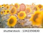 beautiful woman with long hair... | Shutterstock . vector #1342350830