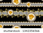 Seamless Pattern of Golden antique decorative barque with versace motif on black background. Fabric Design Background ready for textile print.