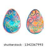 blue and orange easter eggs... | Shutterstock .eps vector #1342367993