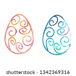 texture easter eggs with tracery | Shutterstock .eps vector #1342369316