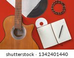 Acoustic Guitar And Notepad...