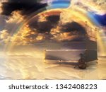 bed with violin and rainbow in...   Shutterstock . vector #1342408223
