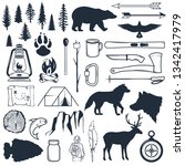 set of wilderness silhouettes.... | Shutterstock .eps vector #1342417979