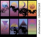 synthwave backgrounds. ready to ... | Shutterstock .eps vector #1342432163