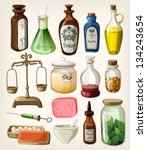 set of vintage apothecary and... | Shutterstock .eps vector #134243654
