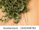 dried spearmint leaves with... | Shutterstock . vector #1342448783