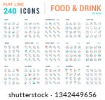 big collection of linear icons. ... | Shutterstock .eps vector #1342449656