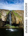 the small geothermal waterfall...   Shutterstock . vector #1342450949