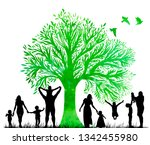 silhouettes of family and... | Shutterstock .eps vector #1342455980