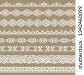 set of white borders on a beige ... | Shutterstock . vector #1342460099