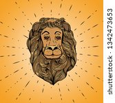 isolated lion in hand drawn... | Shutterstock .eps vector #1342473653