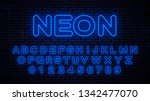 neon blue capital letters and... | Shutterstock .eps vector #1342477070