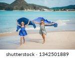 little girls having fun running ...   Shutterstock . vector #1342501889