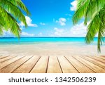 coconut palm trees against blue ... | Shutterstock . vector #1342506239