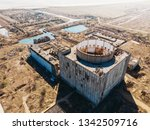 Aerial Top View Of Abandoned...