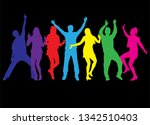 dancing people silhouettes.... | Shutterstock .eps vector #1342510403